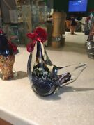 Vintage Murano Italy Art Glass Country Rooster Bird Han Figurine Easter Statue
