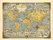 World Wonders A Pictorial Map 1939 Huge
