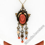 Antique Victorian 14k Gold High Relief Carved Coral Cameo And Bead Dangle Pendant