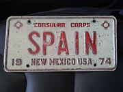 Collectible Rare Spain Diplomatic License Plate New Mexico State 1974