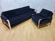 Mid Century Modern Adrian Pearsall Flat Bar Sofa And Chair Set Newly Upholstered
