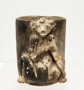 Antique Vintage Unusual Indian South American Pottery Cup Bear Animal Figure
