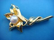 Unique Tiffanyandco Solid 18k Yellow Gold Lily Flower Pearl Brooch 13.5 Grams