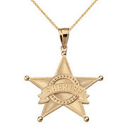 14k Yellow Gold Star Sheriff Badge Public Safety Textured Pendant Necklace