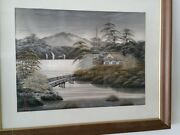 Antique Asian Japanese Chinese Painting On Silk Water Boats Artist Signed