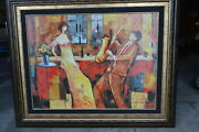 J. Chayat Private Lesson Ii Painting Limited Ed Original Mix Media - 52x 42