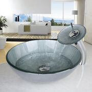 Hand Painting Bathroom Sink Tempered Glass Vessel Sink With Waterfall Faucet Kit