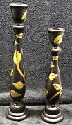Dark Wooden Carved Taper Candle Holders X2 Gold Vine Leaves Shabby Chic