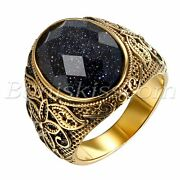 Menand039s Vintage Gold Stainless Steel Patterned Purple Sand Stone Band Ring 7- 12