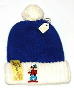 Walt Disney Character Designs Beanie Knit Cap/hat W/goofy Patch 1970and039s Tagged