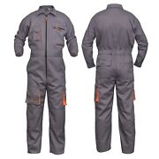 Grey Work Wear Menand039s Overalls Boiler Suit Coveralls Mechanics Protective