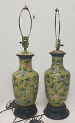 Antique Vintage Chinese Yellow Enamel Cloisonne Lamps Vases Floral As Is