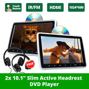 Eonon 2x Hdmi 10 Lcd Car Headrest Active Monitor Dvd/usb Player Game Headsets