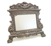 """Sterling Silver Repousse Easel Back Footed Table Mirror With """"ihs"""" Emblem"""