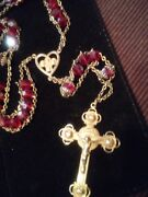Antique Vintage Garnet Red Bohemian Glass Crystal Gold Rosary