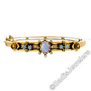 Vintage 14k Yellow Gold Opal And Pearl Textured Floral Open Hinged Bangle Bracelet