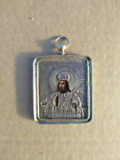 Antique Rare Orthodox Icon St. Tychon Silver Gold Plated 84 Probe 19th Century