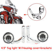 4.5and039and039 Led Auxiliary Fog Passing Light And Housing Cover Andbracket Bucket For Harley