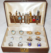 Vintage Clufflinks And Tie Clips Powell And Mason Trolley Car - Fighter Jet And More