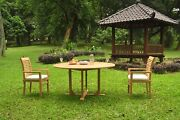 A-grade Teak 3pc Dining 60 Round Table 2 Mas Stacking Arm Chair Set Outdoor
