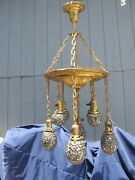 Price Reduced Unique One Of A Kind Antique Art Glass/mosaic Shades Chandelier