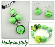 Italian Made Murano Glass Jewelry Set Necklace/pendant Bracelet And Earrings