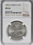 1896 South Africa 2 1/2 Shillings Ngc Ms 64 None Finer Superb Eye Appeal, 2.5