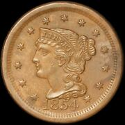 1854 1c Braided Hair Large Cent - Uncirculated - Free Shipping In Usa