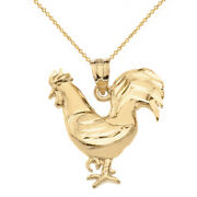 10k Solid Yellow Gold Diamond Cut Rooster Chicken Gamecock Cock Pendant Necklace