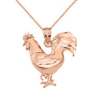 10k Solid Rose Gold Diamond Cut Rooster Chicken Gamecock Cock Pendant Necklace