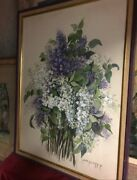 painting Of Purple And White Flower Arrangement In Perfect Condition By Nina H