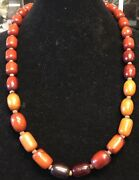 1930andrsquos Butterscotch And Cherry Bakelite Amber Necklace And Prayer Beads 30andrdquo/130g
