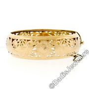 Wide Antique 18k Yellow Gold Hand Pierced And Etched Peacock Hinge Bangle Bracelet