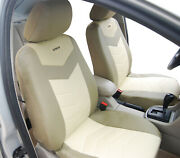 2 Front Car Seat Covers Tan Beige Leatherette - Universal Fit 153-03
