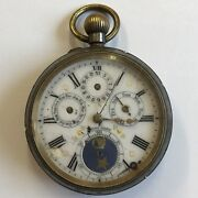 Antique Calendar Moon Phase Type Pocket Watch Top Winder 5cm Not Working A/f