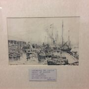 Antique Pen And Ink Sketch Of Great Yarmouth By C. Robertson 1886 Fishing Catch