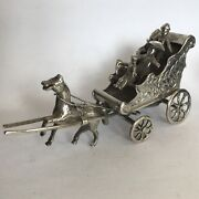 Fine Antique Solid Silver Miniature Horse And Cart Dutch Child's Toy 9cm