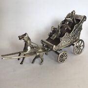 Fine Antique Solid Silver Miniature Horse And Cart Dutch Childand039s Toy 9cm