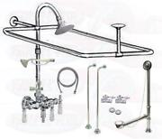 Chrome Clawfoot Tub Faucet Add-a-shower Kit W/drain-supplies And Stops - 11629