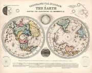 Vintage Map - Geographical Diagram Of The Earth 1851