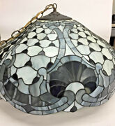 Large Vintage Style Stained Glass Shade W/chandelier Fixture Item 677