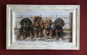 Cross Stitch Hand Embroidered Picture Puppies, Frame W/ Glass 19.5x12