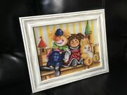 Cross Stitch Hand Embroidered Picture Dolls, Frame W/glass 17.5 X 14.5