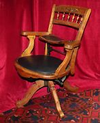 Antique Eastlake Traveling Barberand039s Swivel Chair W/built In Child Seat C. 1850s