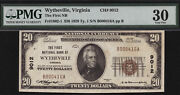 20 1929 T1 First National Bank Of Wytheville Virginia Ch 9012 Pmg 30 Tough