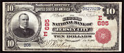 10 1902 Second National Bank Of Jersey City New Jersey Ch 695 Tough Red Seal