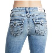True Religion Womenand039s Straight Super Stretch Big T Jeans W/flap In Mineral Skies