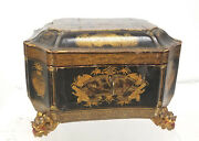 Antique Fine Chinese Gilt Decorated Painted Export Tea Caddy Pewter Gold Lacquer