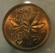 Canada 1937 One Cent Penny Iccs Ms-65 Red Us-072