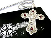 14k White Gold Designer Large Cross Pendant With Rubies By Sacred Angels